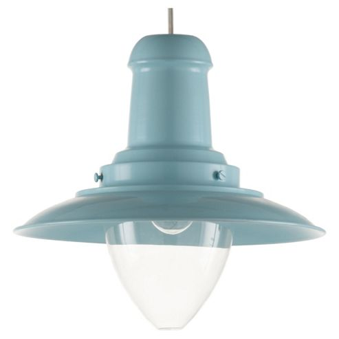 Tesco Lighting Fisherman's Spun Metal Pendant Light, Duck Egg Blue
