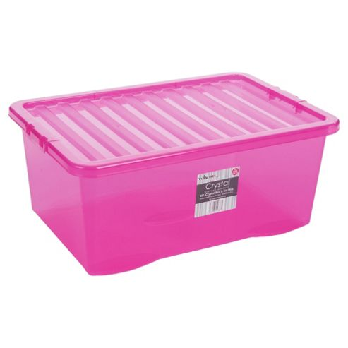 Crystal 45L Box With Lid Tint Pink