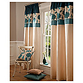 "Catherine Lansfield Clarissa Lined Pencil Pleat Curtains W167xL137cm (66x54""), Teal"