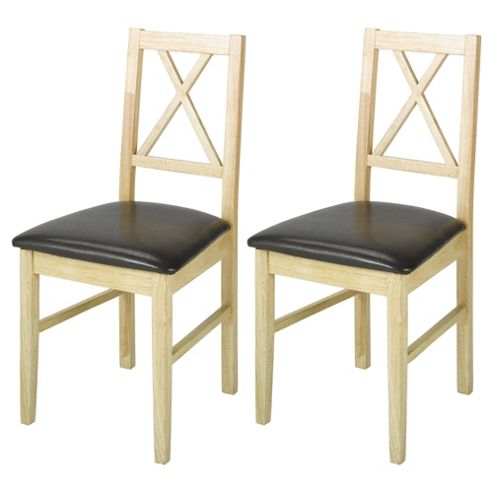 Pembrook Pair Of Cross Back Chairs Natural