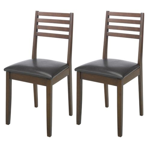 Pembrook Pair Of Slat Back Chairs Dark Oak