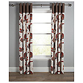 "Tesco Marrakesh Print Lined Eyelet Curtains W163xL229cm (64x90""), Chocolate"