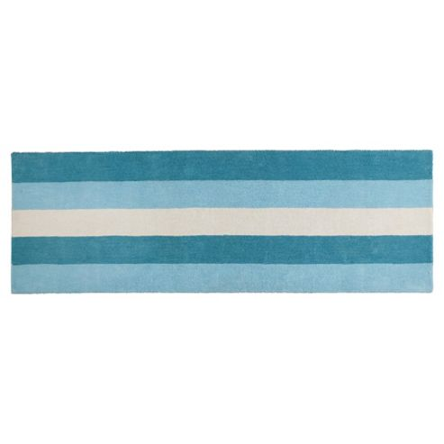 Tesco Vertical Stripe Runner, Duck Egg 67x200cm