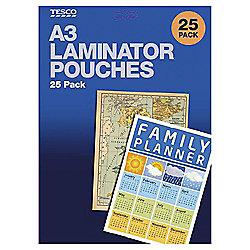 Tesco TA3LP211 A3 Laminator Pouches 75 Micron 25 Pack
