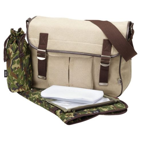 OiOi Military Satchel with camouflage lining Messenger Changing Bag