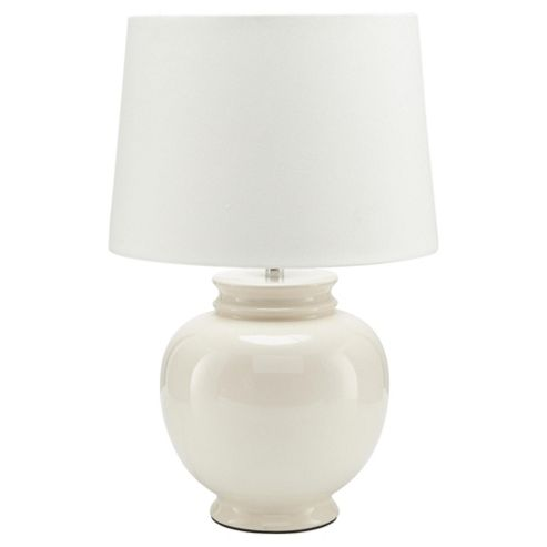 Tesco Lighting Aztec Ceramic Table Lamp, Cream