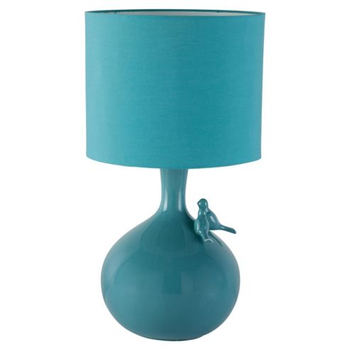 Tesco Lighting Lovebirds Ceramic Table Lamp, Soft Teal