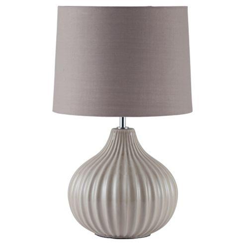 Tesco Lighting Ellert Ribbed Ceramic Table Lamp, Taupe