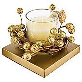 Tesco christmas wreath candle small gold