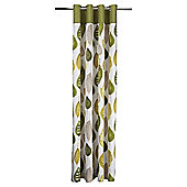 Tesco Watercolour Leaf Lined Eyelet Curtains - Green