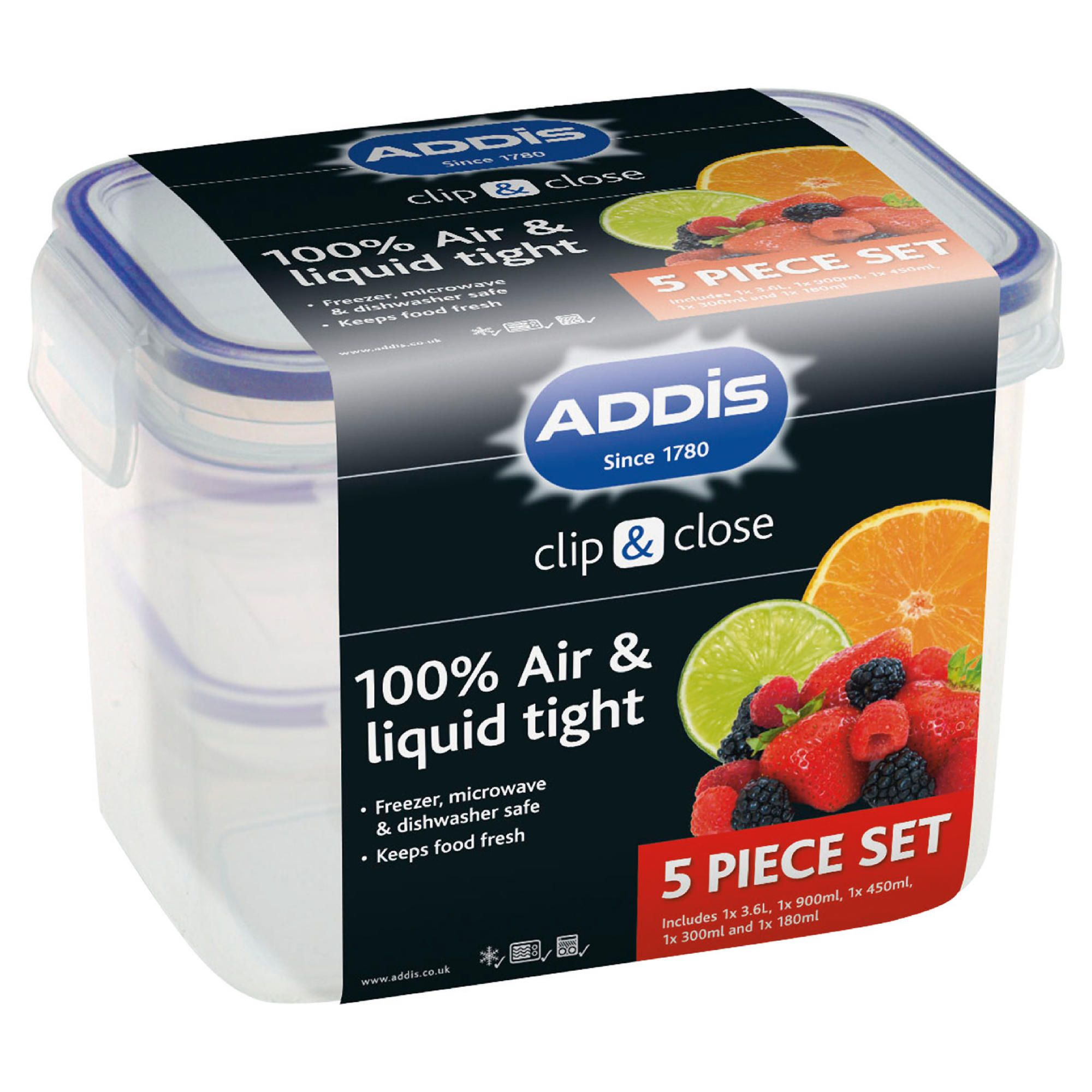 Addis 5 piece food storage set, clear