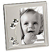 """Silver-plated 6""""x4"""" Satin Baby Frame - Teddy & Balloons"""