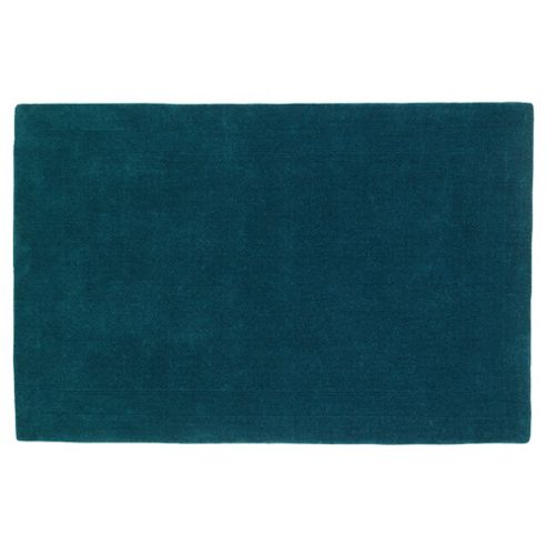 Tesco Rugs Plain Wool Rug Teal 160X230Cm