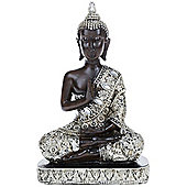 Buddha - Thai Meditating Buddha Decorative Ornament - Black / Silver