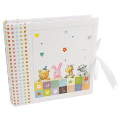 Paper Baby Large Photo Album Teddy, Rabbit & Giraffe, White