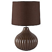 Tesco Lighting Ellert Ribbed Ceramic Table Lamp, Cocoa