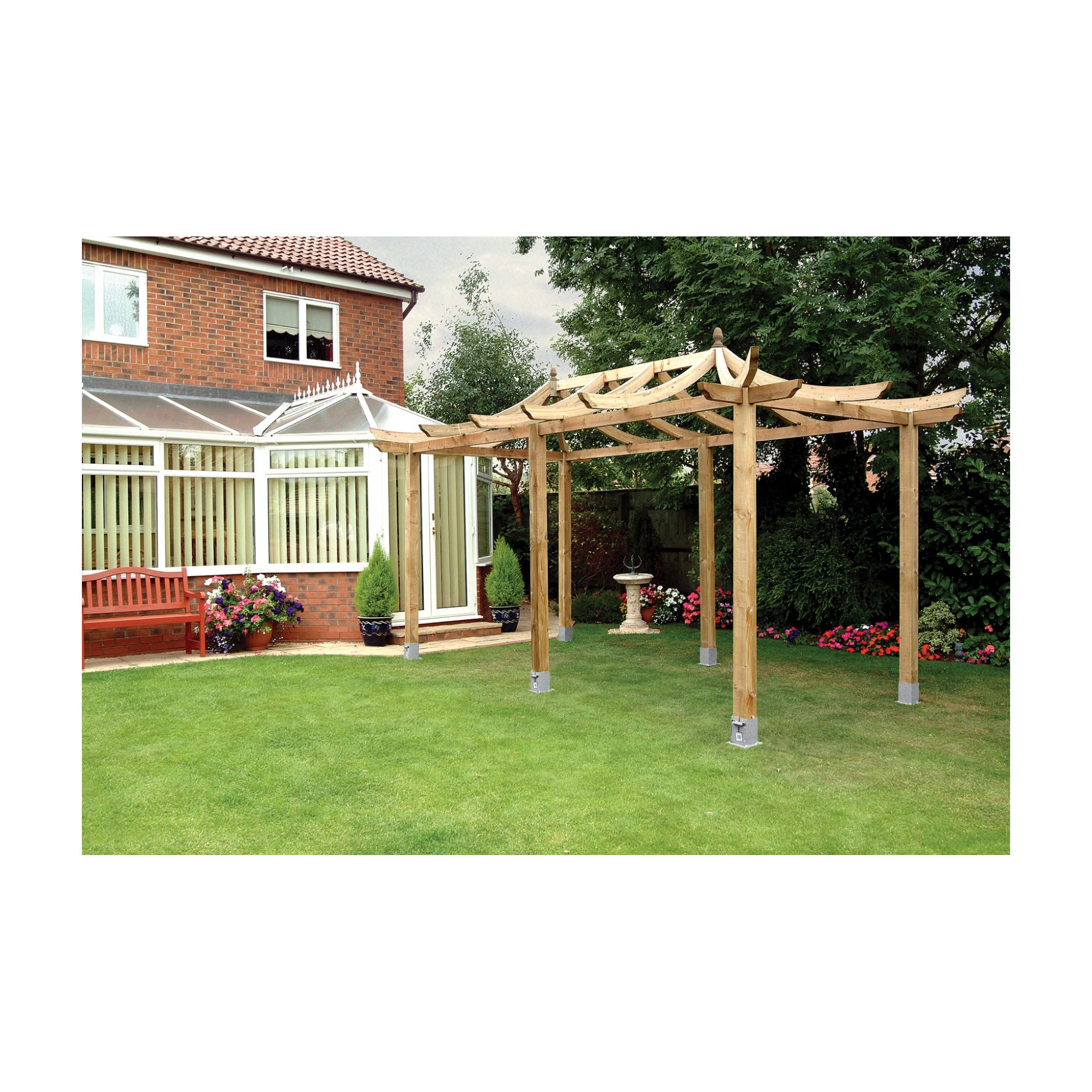 Extended Ashcott Pergola - Includes 6 bags of Metcrete for fixing posts into the ground at Tesco Direct
