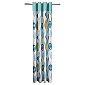 "Tesco Watercolour Leaf Lined Eyelet Curtains W167xL183cm (66x72""), Soft Teal"