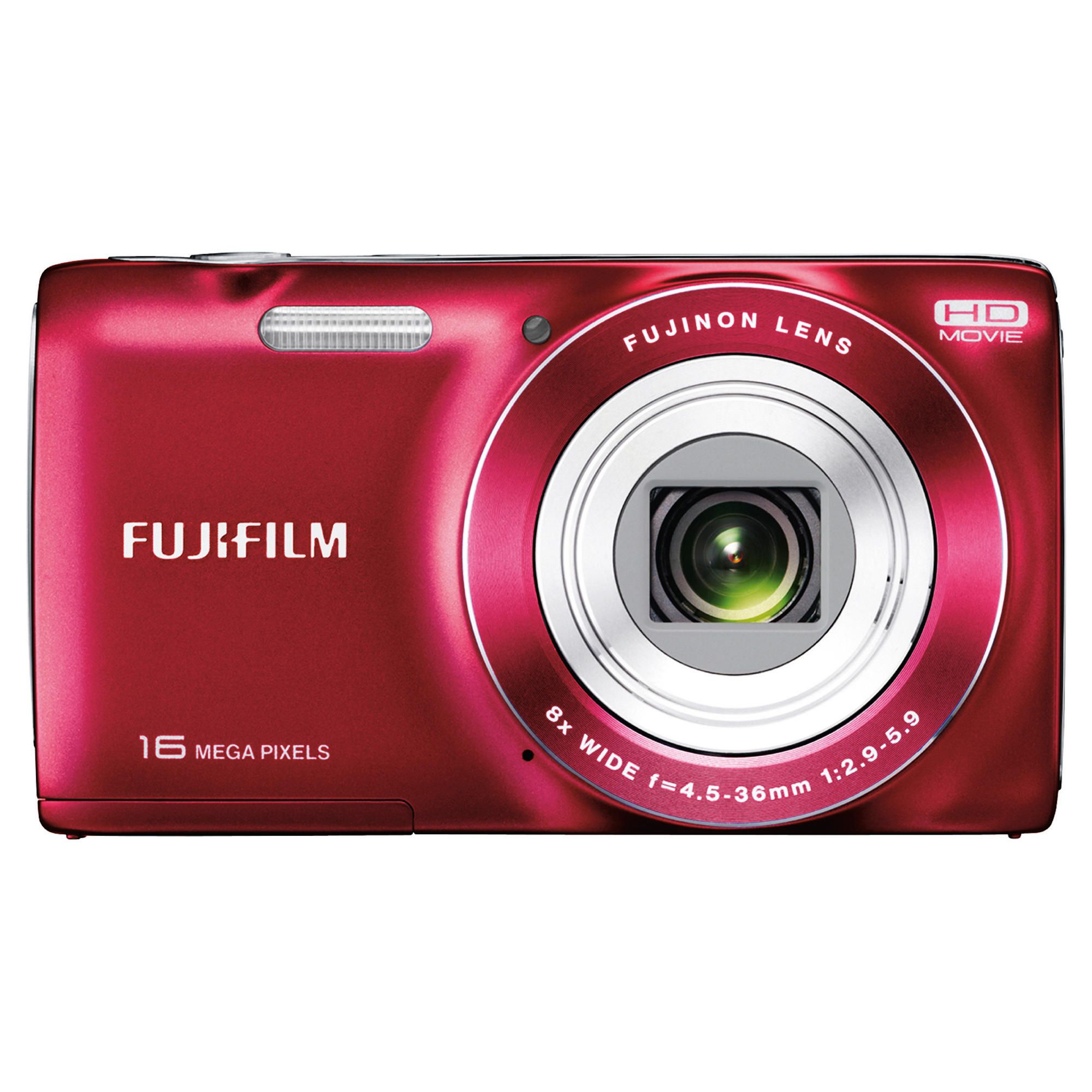 Fuji JZ200 Digital Camera, Red, 16MP, 8x Optical Zoom, 2.7 inch LCD Screen