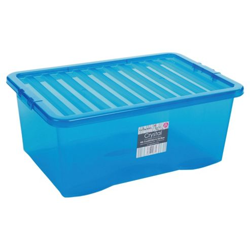 buy tesco 45l plastic storage box with lid blue from our. Black Bedroom Furniture Sets. Home Design Ideas