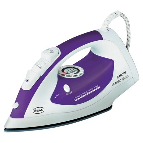 Swan SL3030N Scratch Resistant Ceramic Plate Steam Iron - Purple & White
