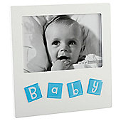 Mdf White Frame With Aluminiium Icons - Baby Blue 4X6""