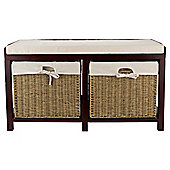 Storage Bench Walnut With Wicker Baskets
