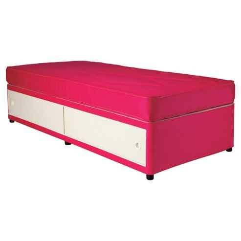 Airsprung Essentials Single Divan Bed, Kids Single Waterproof Anti Dust, Pink