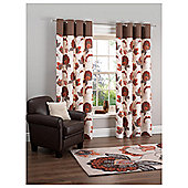 "Tesco Marrakesh Print Lined Eyelet Curtains W163xL183cm (64x72""), Chocolate"