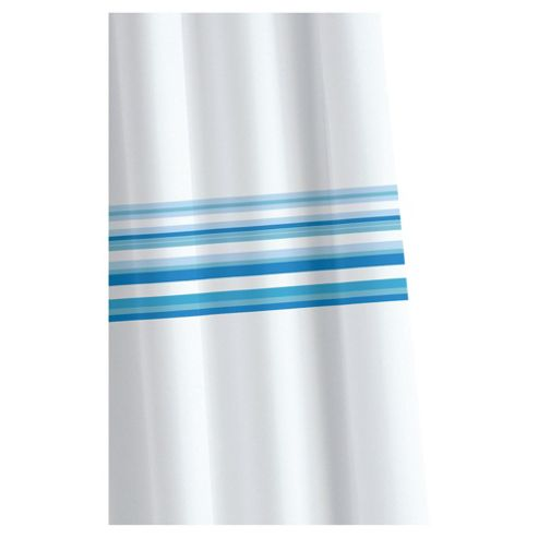 Croydex Blue Bars Textile Shower Curtain