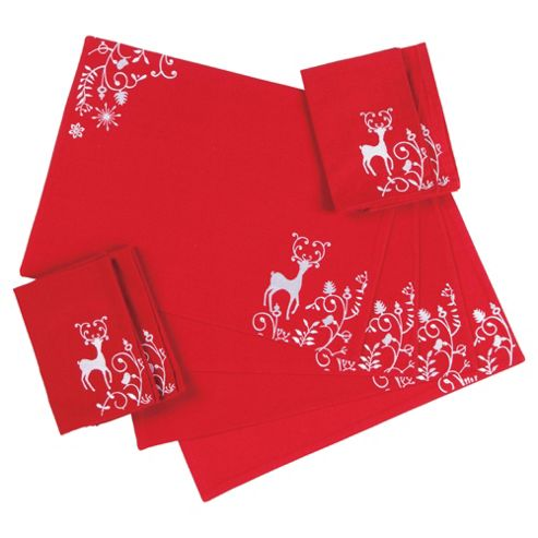 Tesco Woodland Set of 4 Placemats and Napkins