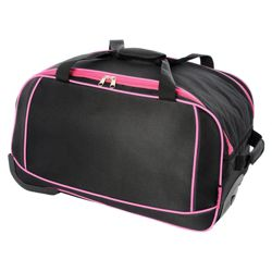 Totes 2-Wheel Duffle Bag, Black with Pink Trim