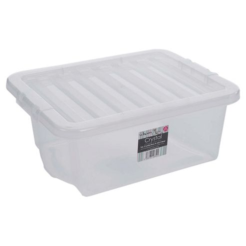 Plastic 16L Storage Box with Lid, Clear