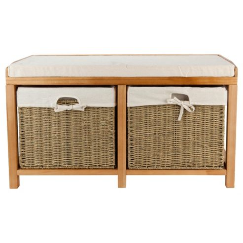 Storage Bench Oak Effect With Wicker Baskets