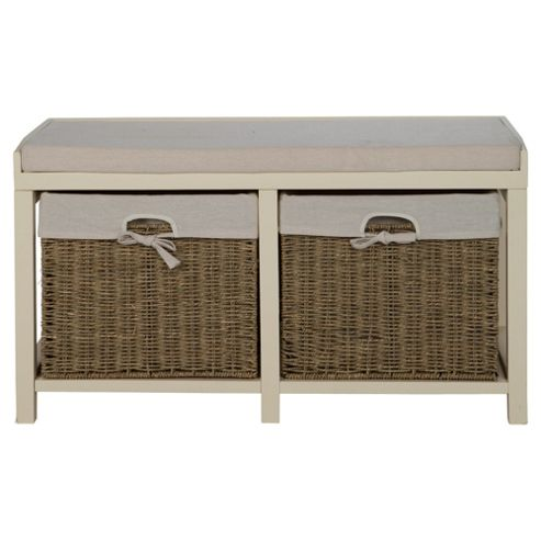 Storage Bench Cream With Wicker Baskets