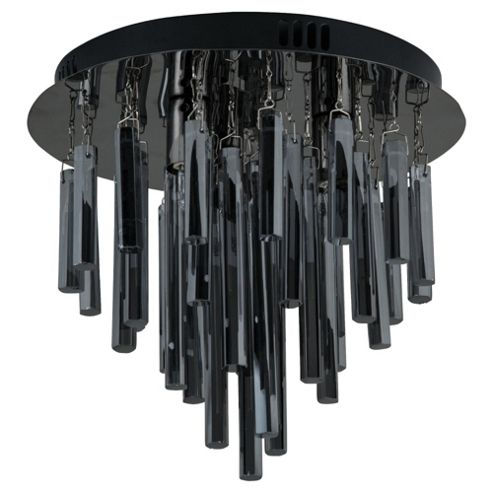 Tesco Lighting Savoy Glass Cylinder Drop Ceiling Light, Black Chrome & Smoke