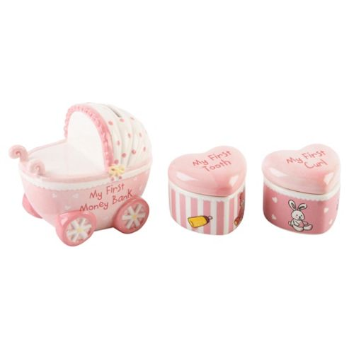 Ceramic Pram Set With 1st Tooth & 1st Curl Boxes