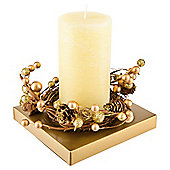Tesco christmas wreath candle large gold