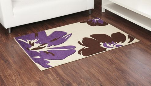 Ultimate Rug Co Rapello Amazone Ivory / Aubergine Contemporary Rug - 120cm x 165cm