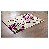 Tesco Rugs Chrysanthemum Rug Plum 120X170Cm