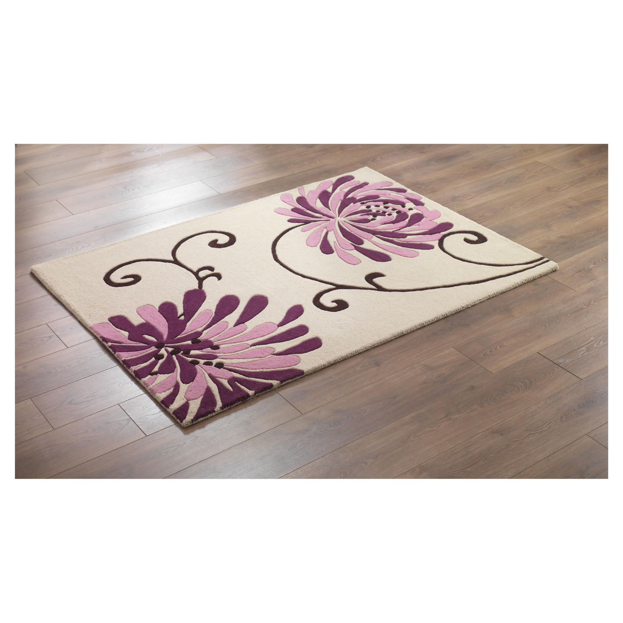 Tesco rugs chrysanthemum rug plum 120x170cm thousands of for Plum and cream rug