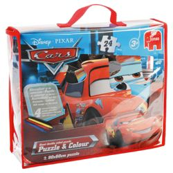Disney Pixar Cars 24 Piece Jigsaw Puzzle & Colour Bag (Incl. Crayons)