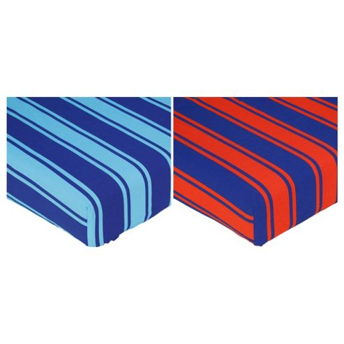 Tesco Kids Single Fitted Sheet Stripes, Twinpack