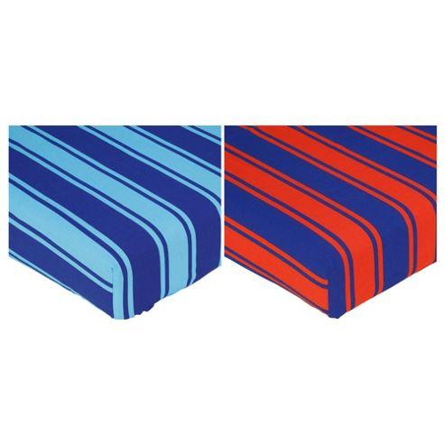 Tesco Kids Single Fitted Sheet Stripes, Twinpack