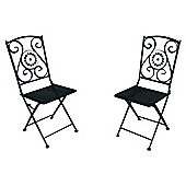 Palma Mosaic Folding Garden Bistro Chairs - 2 Pack