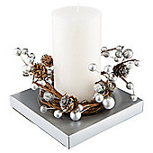Christmas Wreath candle large Silver