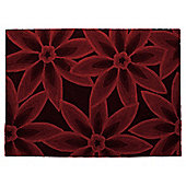 Tesco Rugs 3D Textured Floral Rug Berry 120X170Cm