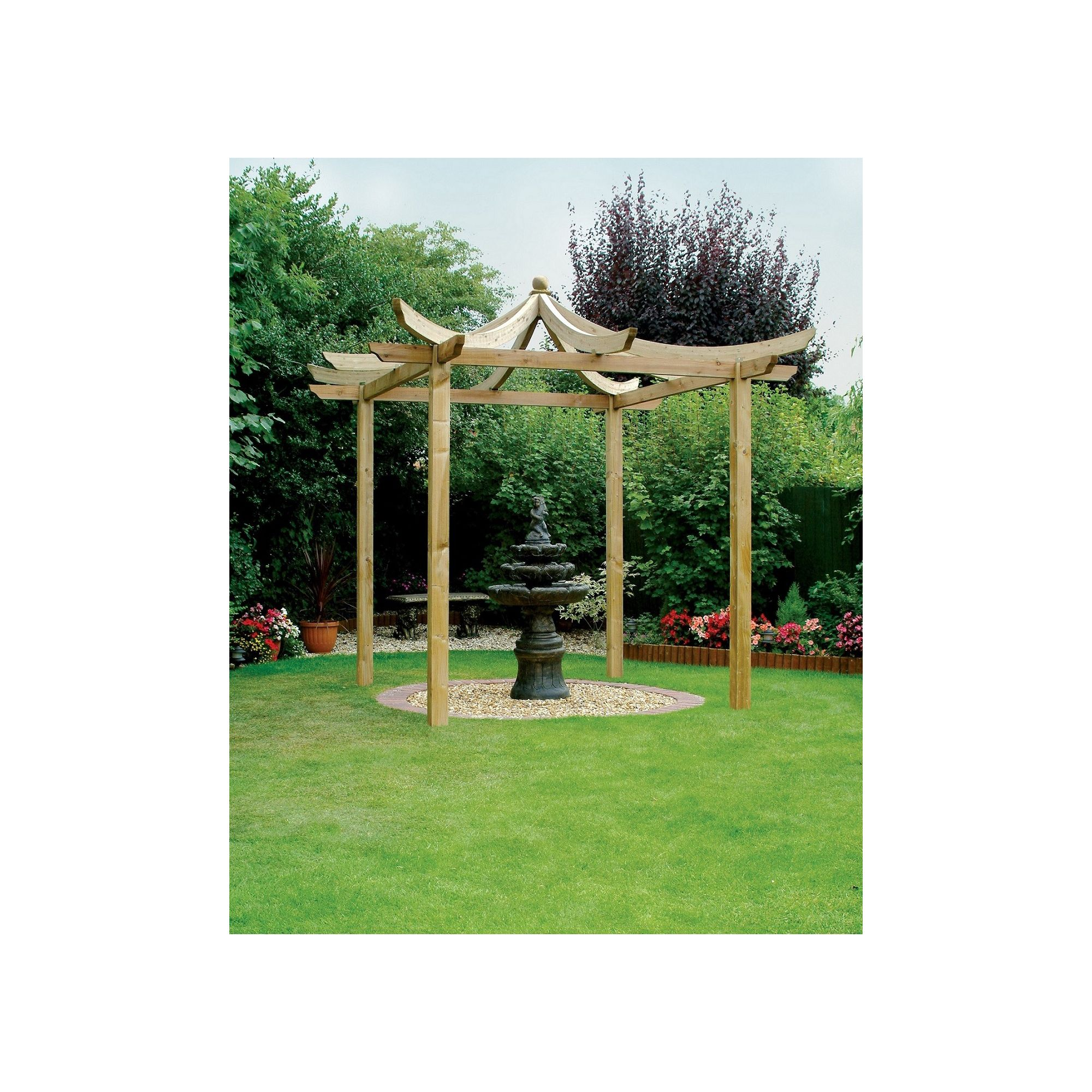 Ashcott Pergola - Includes 4 bags of Metcrete for fixing the posts into the ground at Tesco Direct