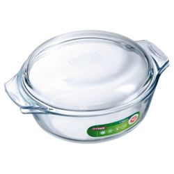 Pyrex 2L Round Glass Casserole Dish with Lid