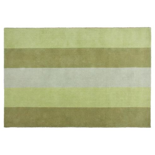 Tesco Rugs Vertical Stripe Rug Green 120X170Cm